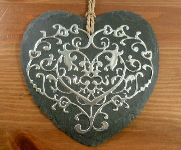 Slate and Filigree Pewter Hanging Heart by PewterConcepts on Etsy