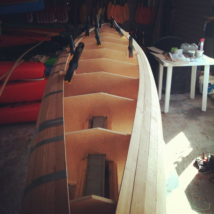 Strip built kayak, hull