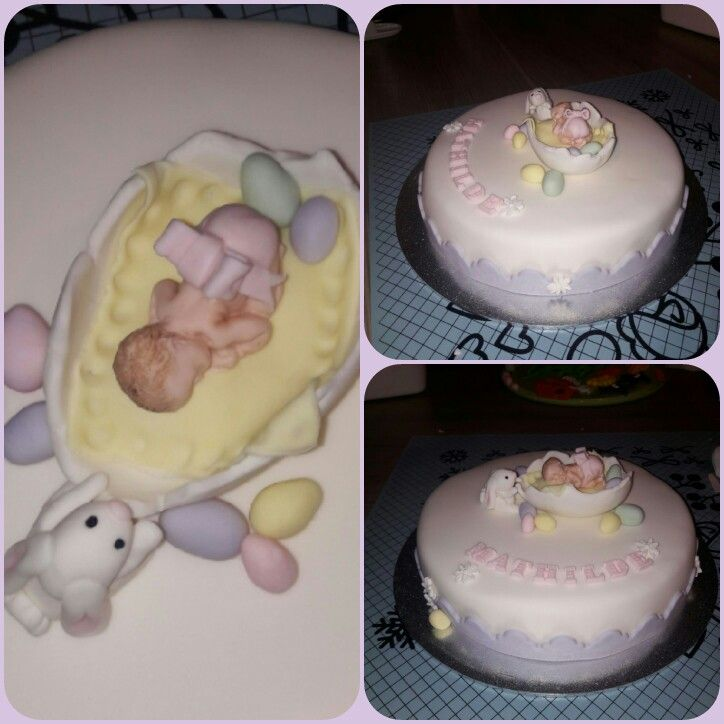 Easter Christening cake. Baby in eggshell, with eastereggs and bunny.