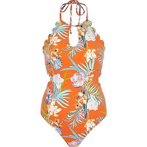 Oranje gebloemd badpak met halternek en geschulpte randen - badpakken - badmode / strandkleding - dames