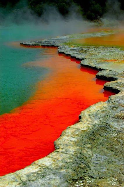 Waiotapu Thermal Reserve, Rotorua, New Zealand. Dit park bezoeken we op het noordereiland tijdens onze wandelreis in maart