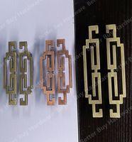 Buraco CC 64mm/96mm Vermelho Cobre/Bronze Antigo Estilo Clássico Chinês mobília da liga do zinco alças puxa maçanetas