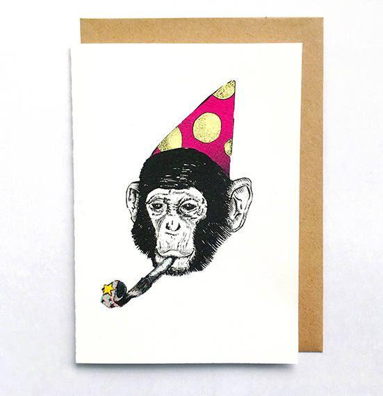 Happy Birthday Monkey Card. Hand illustrated. Buy this funny card at printmantis.etsy.com.