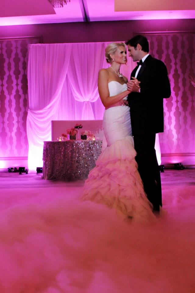 Dancing on a Cloud with pink uplights by Our DJ Rocks!! Photo by Heather Rice Photography