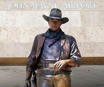 Statue of John Wayne at John Wayne Airport in Orange County, California.