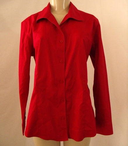 Chicos solid red blouse no iron long sleeve button up for Best no iron shirts