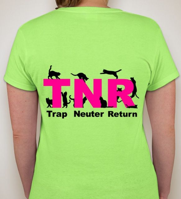 These awesome t-shirts are available through the links below and will benefit St. Louis Feral Cat Outreach. Please consider buying one to help spread the word and help stop the suffering of unwanted births. It is 2 different campaigns because one has pink lettering and the other red. Unfortunately the shipping can't be combined if you buy one with red text and one with pink but if you buy multiples of the same text, then shipping is combined. If you and a friend want one then I suggest…