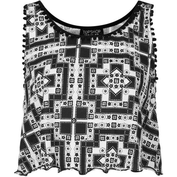 TOPSHOP Tile Print Pom Pom Vest ($12) ❤ liked on Polyvore featuring tops, crop tops, shirts, tank tops, blusas, black, pom pom shirts, jersey tank top, crop shirt and cotton jersey