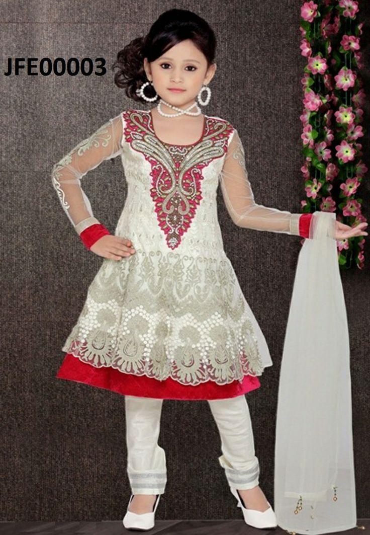 Off White Net Readymade Anarkali Churidar Kameez Itemcode:  JFE00003 Price:  US$ 81.18 #Shop Now @ http://www.jivafashion.com/kids/off-white-net-readymade-anarkali-churidar-kameez/code=JFE00003