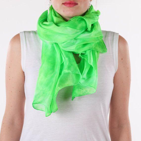 Lime green silk scarf /magnificent kelly green headwrap/ phosphorescent green turban/ 100% habotai silk