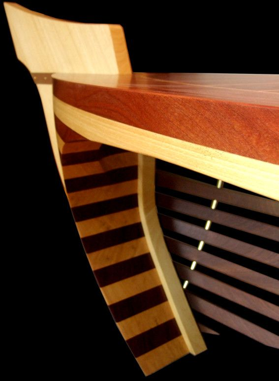 Santa Maria desk looks like a luxury yacht. Its front panel consists of solid wood, mahogany stripes. www.rubyn.eu