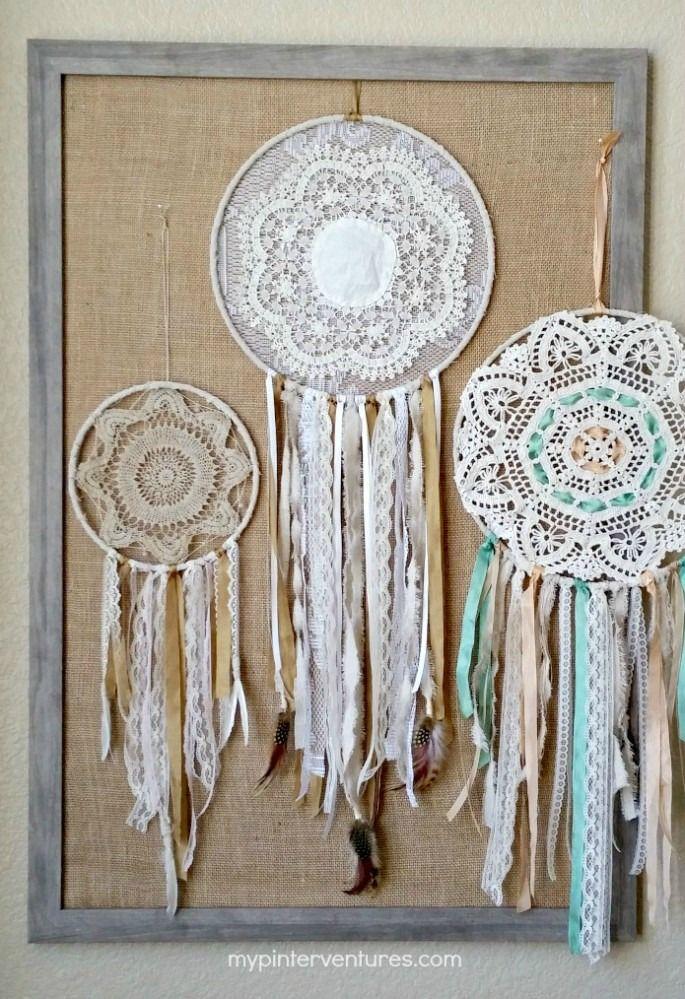 DIY Vintage Doily Bohemian Dream Catcher Craft Tutorial from My Pinterventures