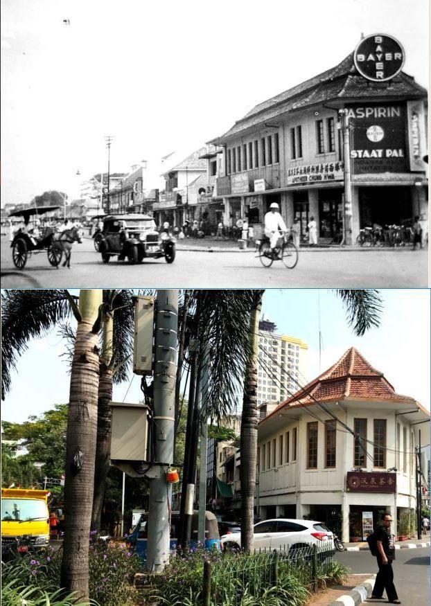 Apotheek Chung Hwa aan Pantjoran te Batavia, circa 1930, ,., Pancoran Tea House, jl Pancoran Glodok, Jakarta, 2017