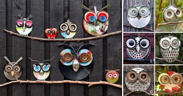 DIY nápady a návod na originálnu a roztomilú dekoráciu do záhrady - dekoračné sovy, ktoré jednoducho vyrobíte z odpadkov.
