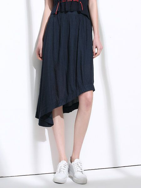 Shop Midi Skirts - Navy Blue Folds Solid Asymmetrical Casual Midi Skirt online. Discover unique designers fashion at StyleWe.com.