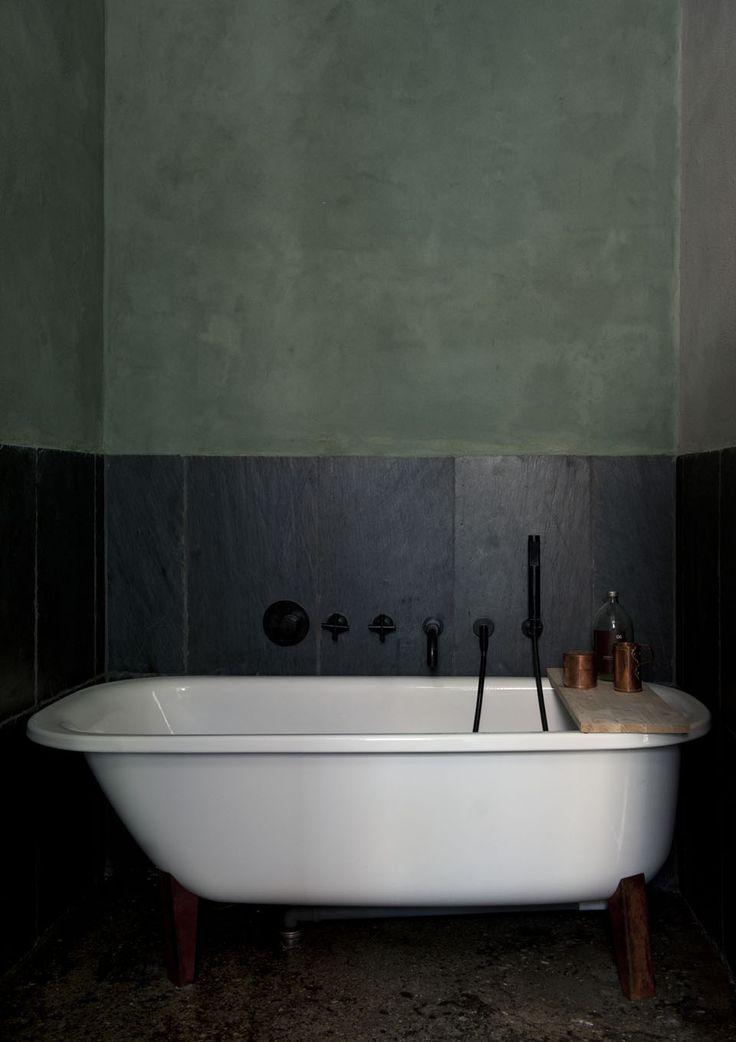 Dark Green Small Bathroom