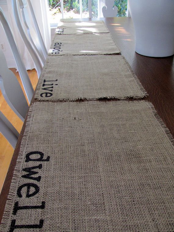 """DIY Burlap Placemants w/ sharpie pen stenciling ..  SO easy to make!  Place mats are single ply and are stitched around the perimeter to prevent unraveling.  Place mats measure approximately 18"""" X 14"""""""