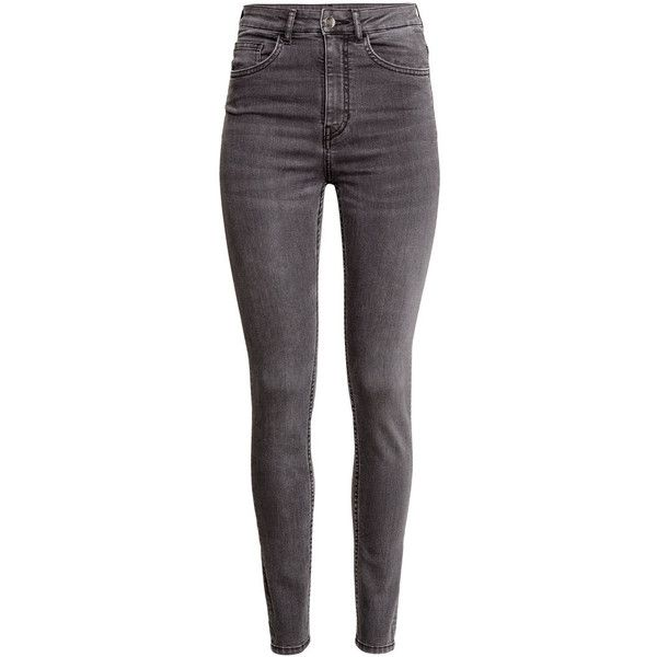 H&M Trousers High waist ($31) ❤ liked on Polyvore featuring pants, jeans, dark grey, highwaist pants, slim leg pants, h&m pants, h&m and high-waisted pants