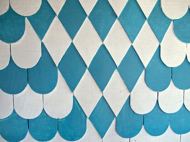 Turquoise White Wood Scales/Shingles
