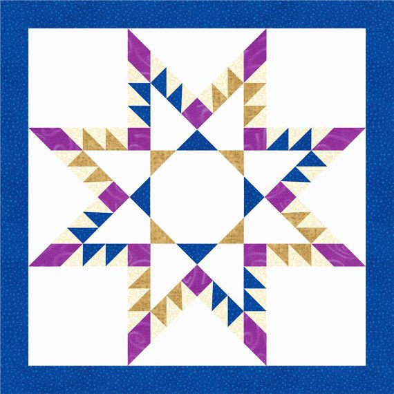 Feathered Star Quilt Block Pattern Instant Download Paper