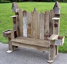 Barn Wood Garden Bench w/ Birdhouses & Planters