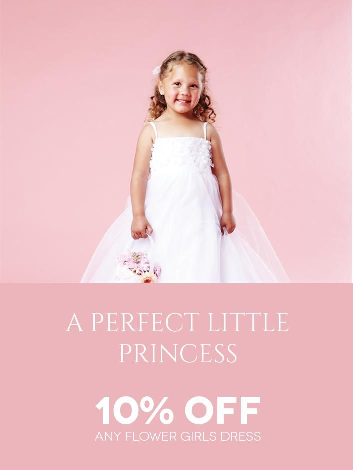 For Your Perfect Little Princess! Get 10% off a flowergirl dress through the Bride&co Rewards Program. Click to View More or Contact Us to Find Out More!