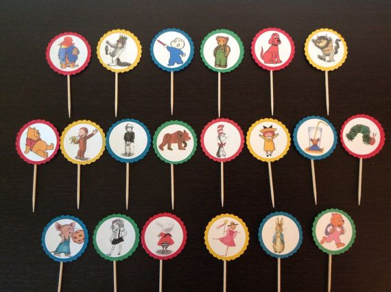 Storybook character cupcake picks cupcake toppers by ThayersWhim