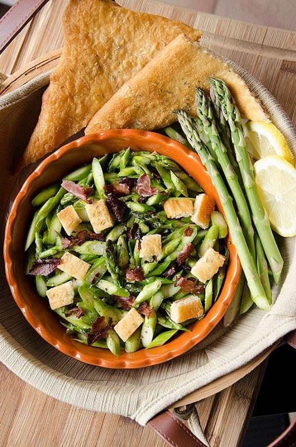 Lemon Asparagus Salad with Crispy Ham and Croissant Croutons