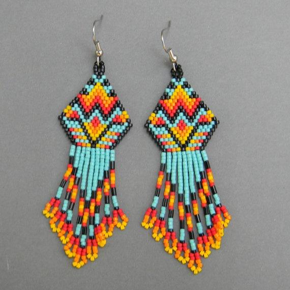 Native American Inspired Seed Bead Earrings By Anabel27 Beading Beaded Jewelry Beadwork Украшения из бисера Pinterest