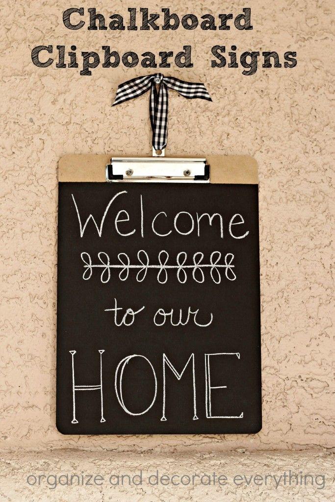 Chalkboard Clipboard Signs | DIY Organizers | Pinterest ...
