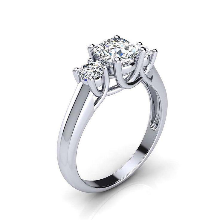 Platinum Past Present Future Diamond Engagement Ring 1.1ct by Luxurman