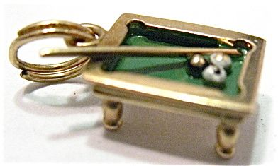 Vintage 14k Gold and Enamel Billiards Table Charm