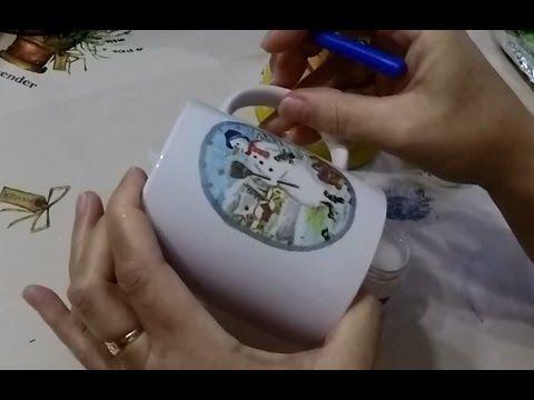 Karácsonyi bögre dekupázs technikával