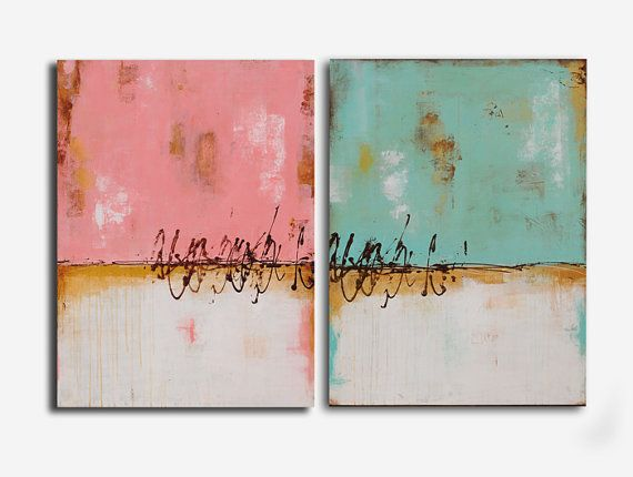 Title: Twin Peaks These beautiful contemporary original paintings were created on canvas - each one measures 30x40x1 choose to hang in any