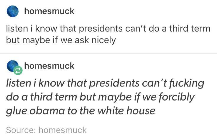 2016 US Presidental Election. 3rd term. Third term. Obama please.