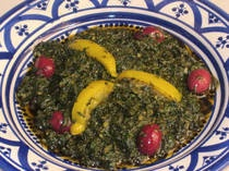 Moroccan Mallow Salad with Preserved Lemon and Olives - Khoubiza or Bakoula (Use spinach instead. I've never seen mallow around here & the Moroccan restaurants here use spinach.)