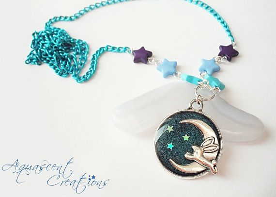 Adorable bunny charm pendant on a long no clasp necklace. 12,00$  #aquascentcreations #jewelry #necklace
