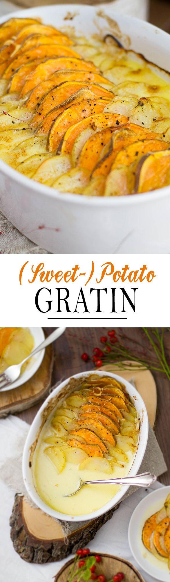 Sweet Potato Gratin with Gruyer Onion Cheese Sauce | Süßkartoffel Auflauf mit Gruyer zwiebel Sauce