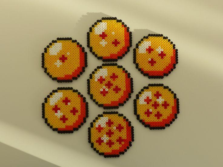 Lot de 7 dessous de verre Boules De Cristal Dragon Ball Z Retro Geek en Perles Hama : Accessoires de maison par hamacadabra