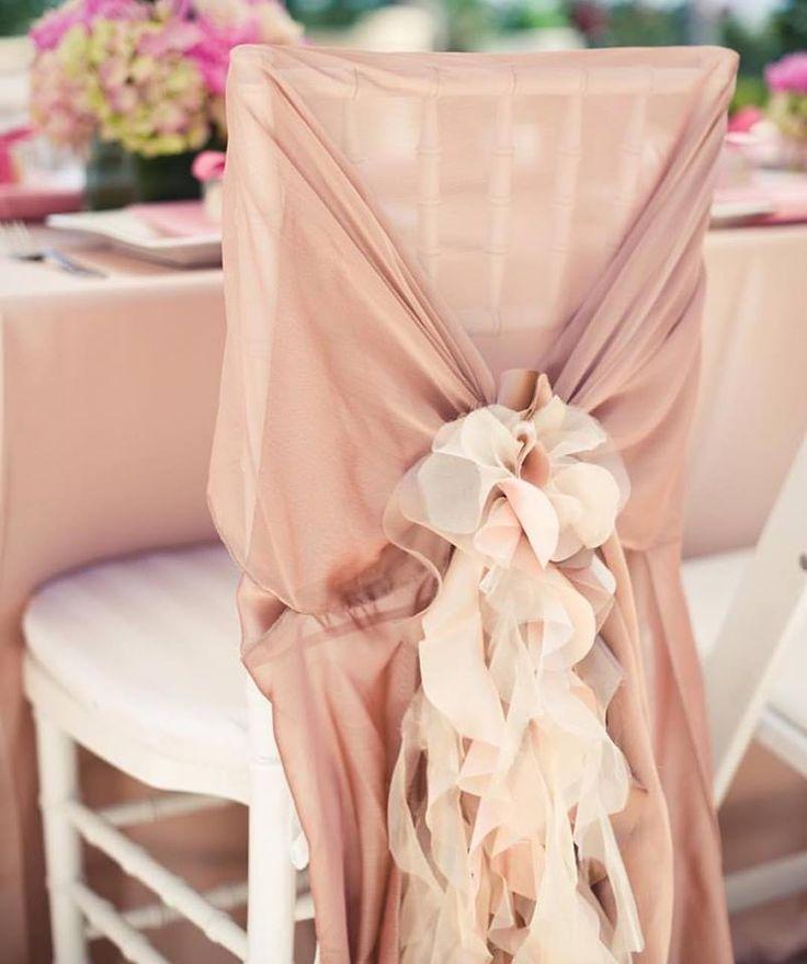 Pantone 2016 Rose Quartz - Celine antique rose with curly willow blush chair accessory Photo by Pictilio | Simple Little Details