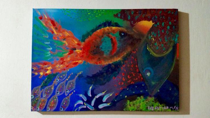 Titulo : ríos pintorescos.  Autor: luz Esther Monsalve.  Dimensión : 50 x 35.  Técnica : óleo sobre lienzo  Año : 2014