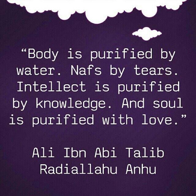 """Body is purified by water. Nafs by tears. Intellect is purified by knowledge. And soul is purified with love."" -- Ali Ibn Abi Talib (Radhiallahu Anhu)"