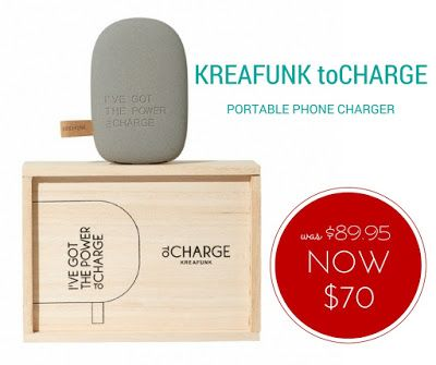 WEEKLY SPECIAL: Kreafunk toCharge NOW $70 (was $89.95) Never worry about your phone going flat when you're out and about again with this super handy portable phone charger. And it's pretty stylish too:-) #Specials #GiftsonSale #KreafunkToCharge #ToCharge