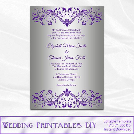 Silver And Purple Blank Invitations: Silver Foil Wedding Invitation Template, Diy Purple And