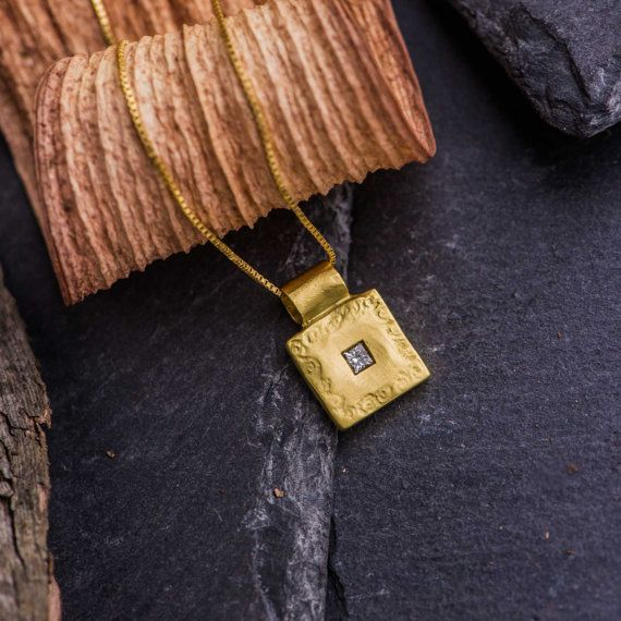 18K Yellow Matte Gold Pendant Necklace set with by ZEHAVAJEWELRY