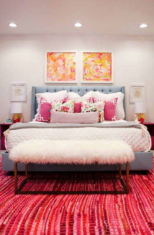 Tween Girl's Room Reveal: upholstered this great bench in ikea rugs. The shag texture is fun for a girl's space!