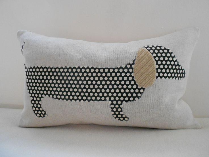applique spotty sausage dog cushion