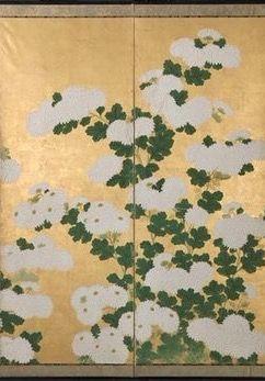 Detail. Suzuki Kiitsu. Chrysanthemums. Edo period 19th century. Japanese six-panel folding screen. MFA