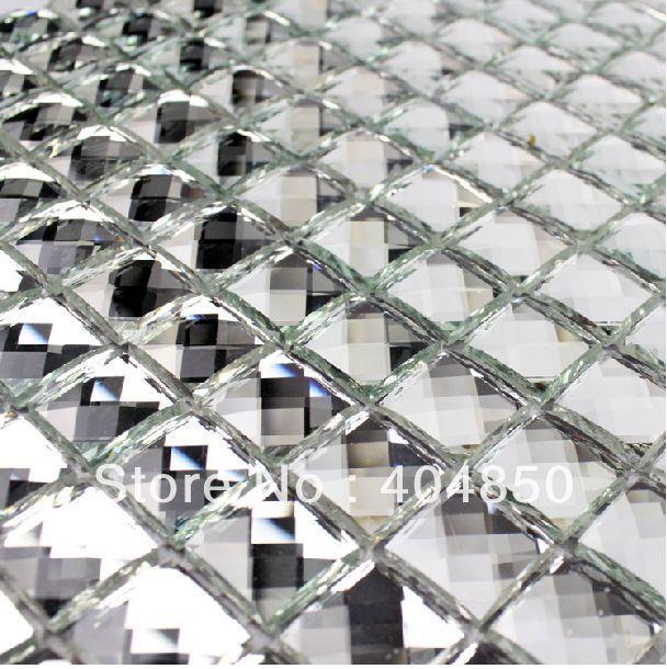 Thirteen facets diamond  bathroom kitchen glass tile silver mirror glass mosaic tile-in Mosaics from Home Improvement on Aliexpress.com $190.00