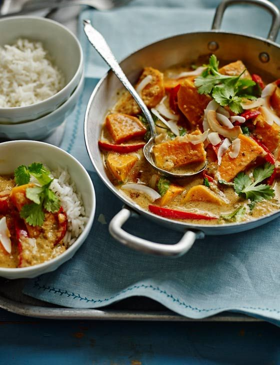 Vegan-friendly Thai red sweet potato, red pepper and coconut curry - the perfect vibrant warming dish to make tonight.